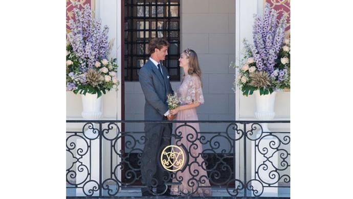 """<strong>Beatrice Borromeo and Pierre Casiraghi</strong> <br><br> <strong>The dress:</strong> For the civil ceremony Beatrice wore a Valentino Haute Couture dress. <br><br><a href=""""https://www.instagram.com/p/5mTRLYvtwA/"""">@maisonvalentino</a> posted to instagram: """"The House of Valentino is pleased to announce that Beatrice Borromeo wore a Valentino Haute Couture dress for her civil wedding with Pierre Casiraghi. The wedding gown was created in a pale pink and gold lace silk chiffon, designed by creative directors Maria Grazia Chiuri and Pierpaolo Poccioli."""""""