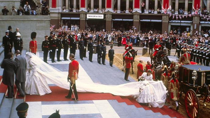 <strong>Princess Diana and Prince Charles</strong> <br><br> <strong>The dress:</strong> Designed by David and Elizabeth Emanuel, the ivory silk taffeta and lace gown had a six metre train and was decorated with 10,000 hand embroidered pearls. <br><br> <strong>The entertainment: </strong> There was no official entertainment, apart from the wedding itself, which was broadcast to 750 million people.