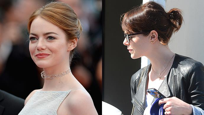 <strong>Emma Stone</strong><br><br> Actress and famous red-head Emma Stone had traded in her auburn locks for a dark, chocolate shade.