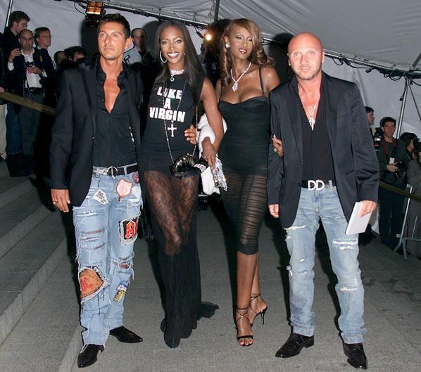 Naomi Campbell, Iman, Stefano Gabbana and Domenico Dolce