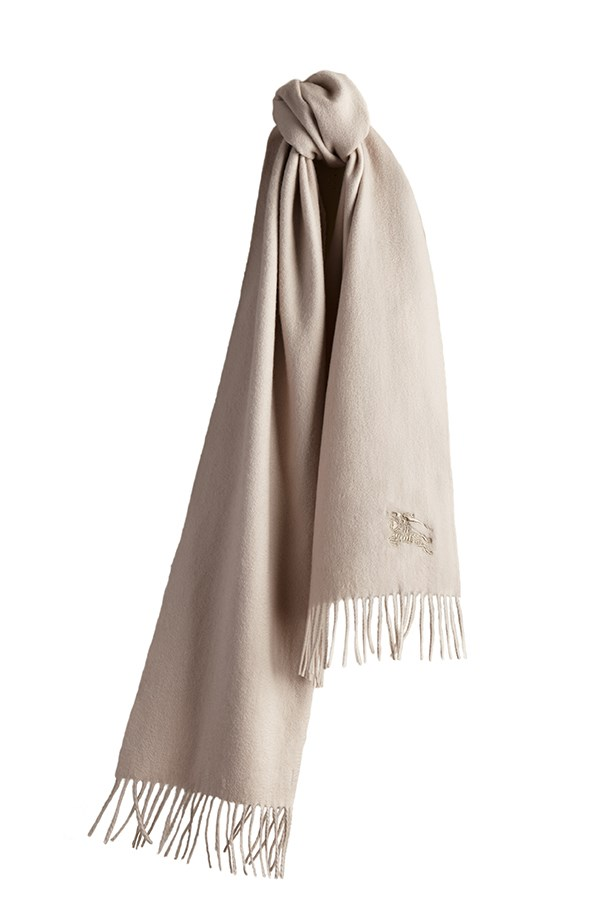 "Burberry 'Solid Stone' scarf, price on application, visit your local <a href=""https://au.burberry.com/?gclid=CIeZ9f_2xMwCFUlxvAodLv8PnA&gclsrc=aw.ds"">Burberry</a> store, (Burberry are also offering complimentary monogramming on Mother's Day products)"