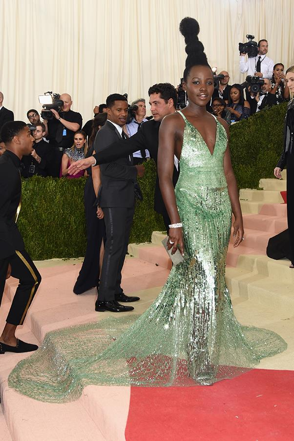 Lupita Nyong'o in Calvin Klein Collection and Tiffany & Co. jewellery