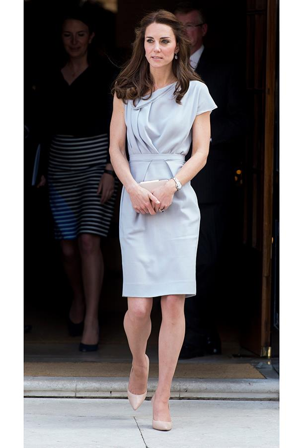 The Duchess wore a Roksanda dress with a grey Michael Kors coat (next slide) to a playground opening at Hampton Court Palace.