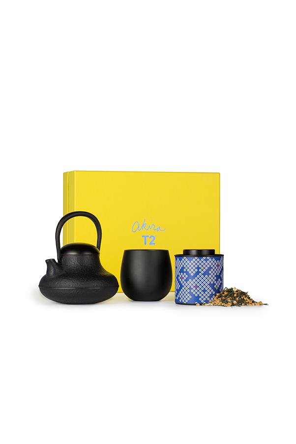 "T2 'Akira' tea set, $350, <a href=""https://www.t2tea.com/en/au/gifts-packs/akira-gift-box-T145AK206.html"">T2 stores</a> nationwide"