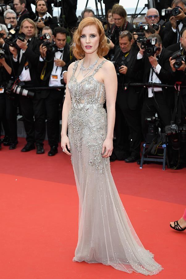 Jessica Chastain in Alexander McQueen at the premiere of <em>Money Monster</em>