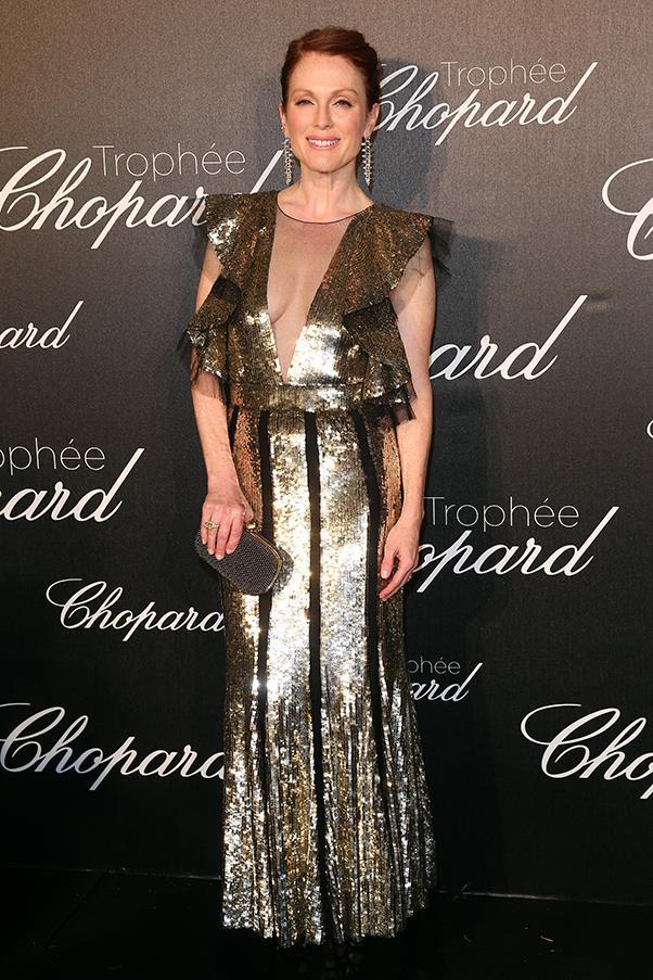 Julianne Moore in Alexander McQueen at the Chopard Trophy ceremony
