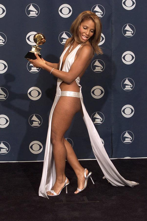 <strong>Toni Braxton</strong> <br><br> Braxton showed some serious leg at the 2001 Grammy Awards, wearing a silky white dress that left little to the imagination.