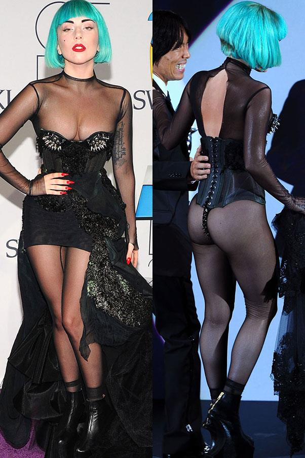 <strong>Lady Gaga</strong> <br><br> Gaga attended the 2011 CFDA Fashion Awards in a sheer black dress and bright blue bob. At first glance the dress wasn't <em>completely</em> naked, but as she took to the stage, she removed the bottom half of her skirt in true Gaga fashion.