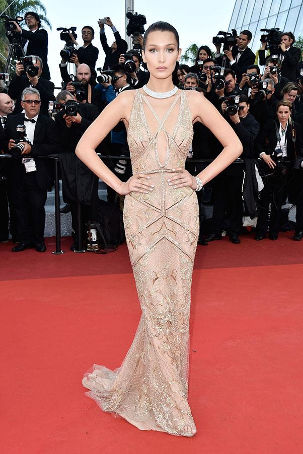 <strong>Bella Hadid</strong> <br><br> Fellow model Bella Hadid attended the Opening Night Gala during the 69th annual Cannes Film Festival donning a dress so close to her skin tone, she might as well have only been wearing diamonds.