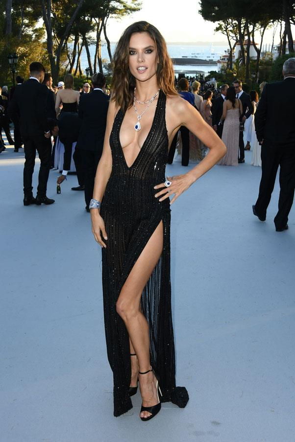 Alessandra Ambrosio <br><br> In a Redemption dress, Jimmy Choo heels, and Boucheron jewellery.