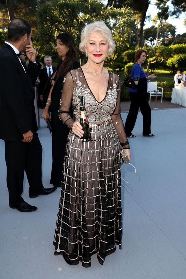 Helen Mirren <br><br> In Temperley London and Harry Winston jewelry.