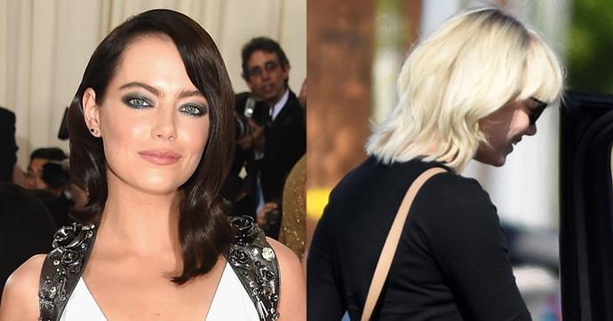 <strong>Emma Stone</strong> <br><br> It's hard to keep up with Emma Stone's hair at the moment, after she lost her famous red locks for a sleep brunette look at this year's Met Gala. Now, she's been spotted stepping out in Beverly Hills with a layered, wavy peroxide blonde bob, delivered by none other than Mèche Salon. Chrissy Teigen and Charlize Theron also trusted Mèche with their new do's recently, so it's no wonder Emma went here for her drastic new look as well. <br><br> Credit: Splash