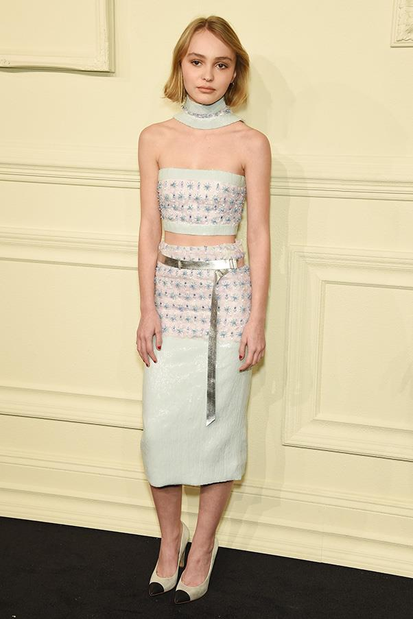In Chanel at the Chanel Métiers d'Art show in New York