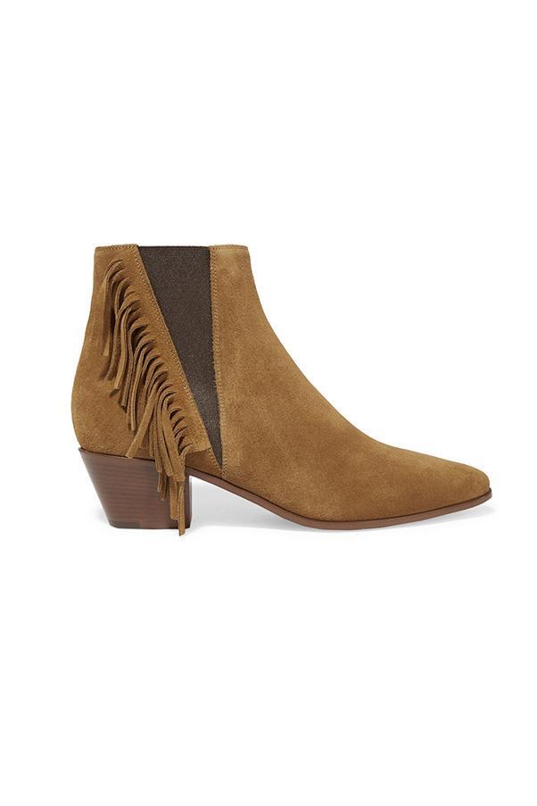 "<strong>11. An ankle boot</strong> <br><br> Fringed suede ankle boots by Saint Laurent, $965, <a href=""https://www.net-a-porter.com/au/en/product/648469/Saint_Laurent/fringed-suede-ankle-boots"">Net-A-Porter</a>"