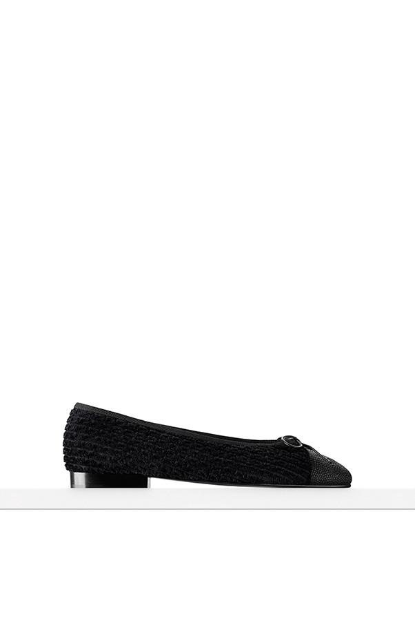 """<strong>13. A ballet flat</strong> <br><br> Black tweed and grained calfskin flats by Chanel, price on application, <a href=""""http://www.chanel.com/en_AU/fashion/products/shoes/g/s.flats-tweed-grained-calfskin-black.16A.G02819Y5034294305.cat.bal.html"""">Chanel</a>"""