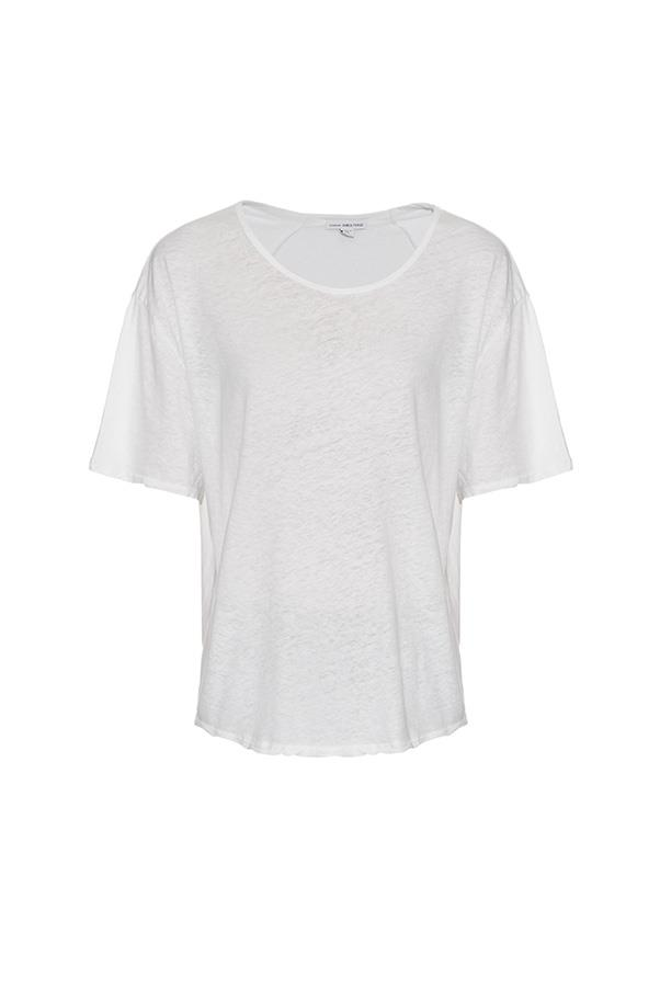 """<strong>30. A white tee</strong> <br><br> Short-sleeved linen and cotton-blend t-shirt by James Pearce, $209, <a href=""""http://www.matchesfashion.com/au/products/James-Perse-Short-sleeved-linen-and-cotton-blend-T-shirt%09-1045348"""">Matches Fashion</a>"""