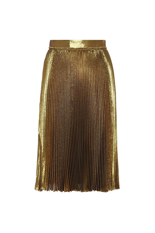 """<strong>40. A midi skirt</strong> <br><br> Metallic pleated silk-blend skirt by Gucci, $1340, <a href=""""http://www.mytheresa.com/en-au/metallic-pleated-silk-blend-skirt-594469.html?catref=category"""">My Theresa</a>"""