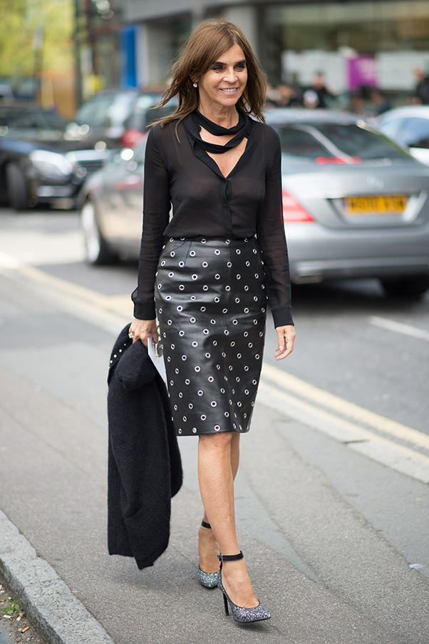 <strong>42. A leather skirt</strong><br><br> Carine Roitfeld
