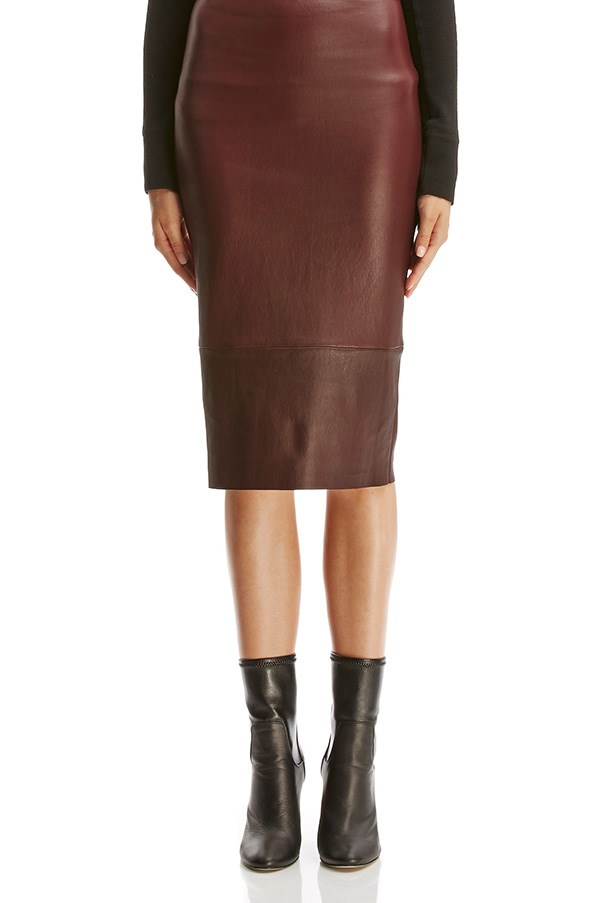 """<strong>42. A leather skirt</strong> <br><br> Stretch leather high waist skirt by Scanlan Theodore, $800, <a href=""""http://www.scanlantheodore.com/skirts/c53761-stretch-lthr-high-waist-skirt#product-images-popup"""">Scanlan Theodore</a>"""