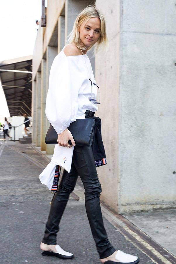 <strong>43. A pair of leather pants</strong><br><br> Nadia Fairfax