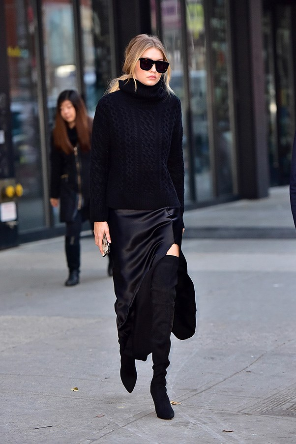 <strong>47. A cable knit</strong><br><br> Gigi Hadid