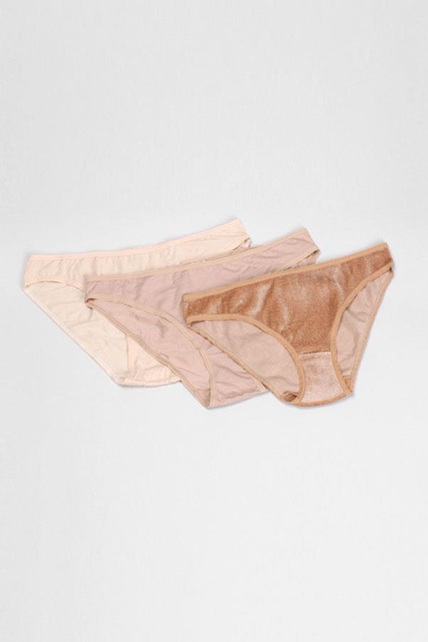"""<strong>25. Nude, seamless underwear</strong> <br><br> 'Bell' nude basic underpants pack by Base Range, $150, <a href=""""https://www.mychameleon.com.au/bell-nude-basic-pack-p-4572.html?typemf=women"""">My Chameleon</a>"""