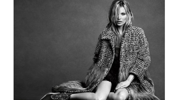 <strong>Alberta Ferretti</strong><br><br> Modelled by Kate Moss, shot by Luigi & Iango