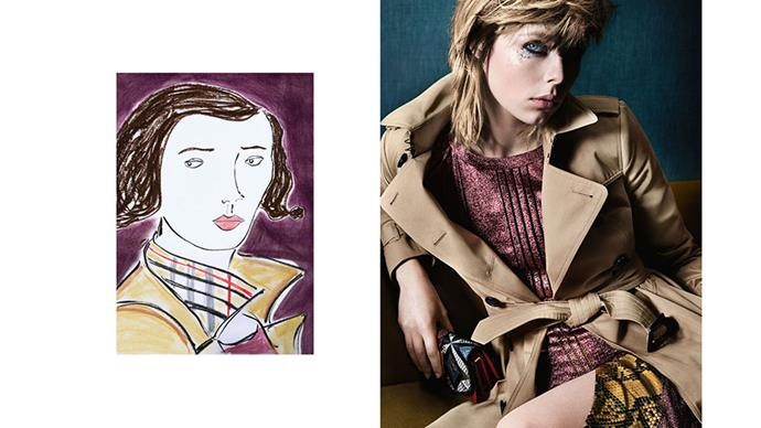 <strong>Burberry</strong><br><br> Modelled by Edie Campbell and Callum Turner (not pictured), shot by Mario Testino, illustrations by Luke Edward Hall