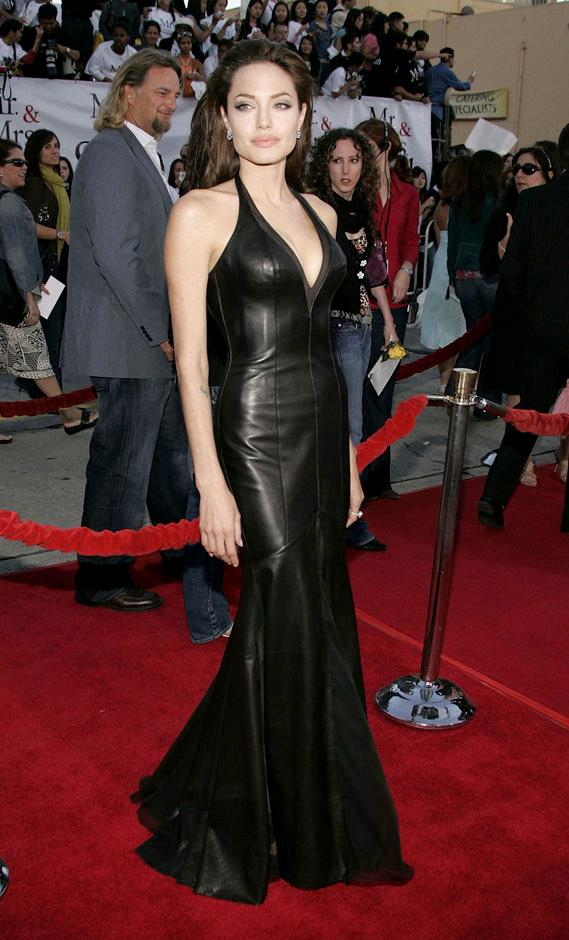 <strong>2005</strong> <br><br> In Versace at the <em>Mr. and Mrs. Smith</em> Los Angeles premiere.