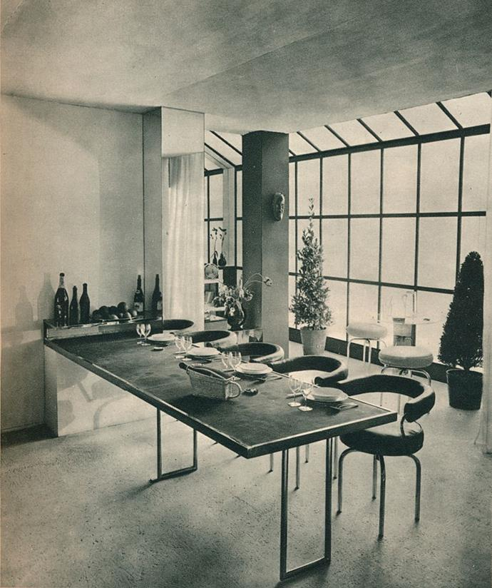 <strong>1928</strong> <br><br> At Salon des Artistes Dècorateurs, Charlotte Perriand debuts a table and stools that would feel right at home in our current homes.