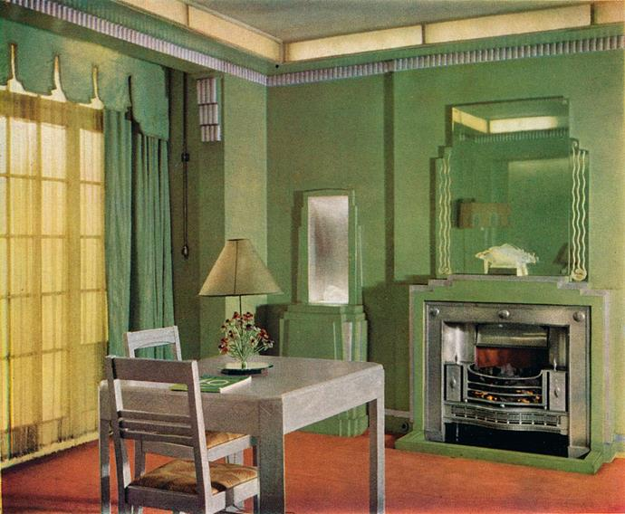 <strong>1933</strong> <br><br> The future is bright in the brilliant green showroom of the General Electric Company. (Note that fabulous Deco detail around the mirror.)