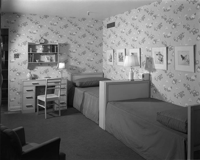 "<strong>1941</strong> <br><br> At 1941's ""Modern House"" installation at Marshall Field & Co., tailored twin beds offer stylish comfort."