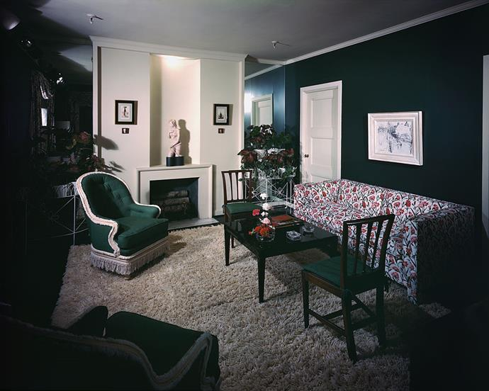"<strong>1946</strong> <br><br> In the ""Trend House"" of 1946 at Marshall Field & Co., we see a very early predecessor to the shag rug."