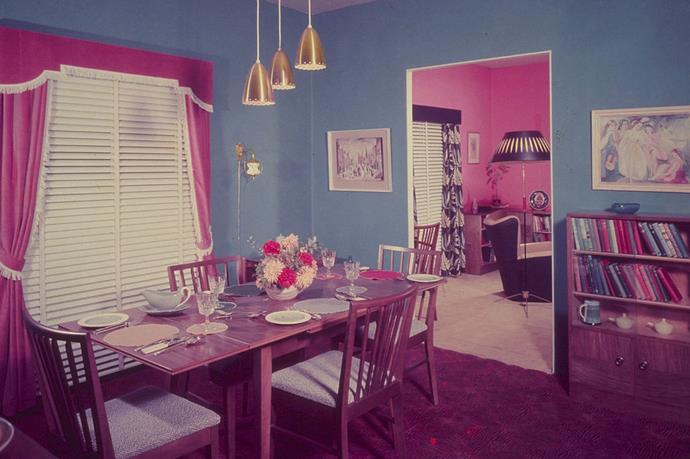 <strong>1955</strong> <br><br> A Danish influence can be seen in the dining room set in this colorful home.