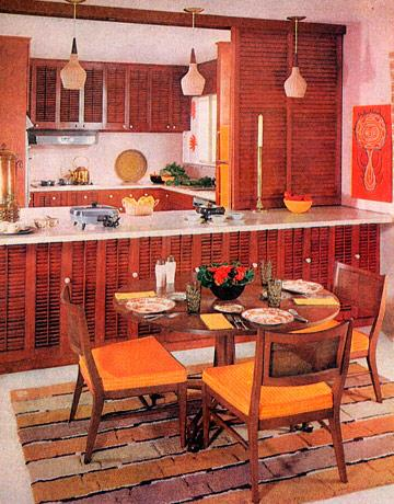 <strong>1959</strong> <br><br> Sunny yellow and crisp white brighten up the warm wood tones in this kitchen area.