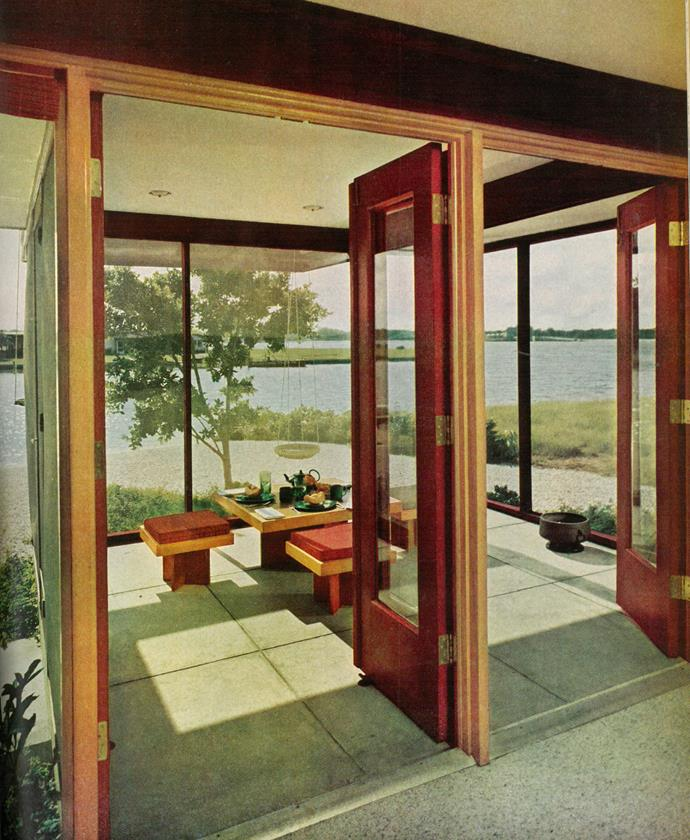 <strong>1963</strong> <br><br> In a 1963 issue of <em>House Beautiful</em>, a low-profile dining set offers uninterrupted views on a sun porch.