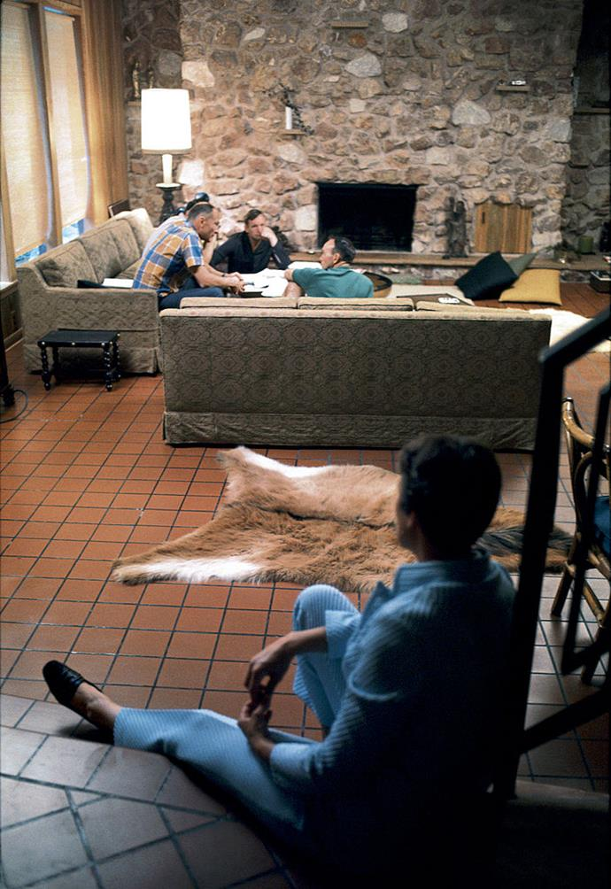 <strong>1969</strong> <br><br> In an astronaut's home (here, we see Jan Armstrong patiently wait while Buzz Aldrin and Michael Collins chat), we get a glimpse of the earth tones that were decidedly on-trend.