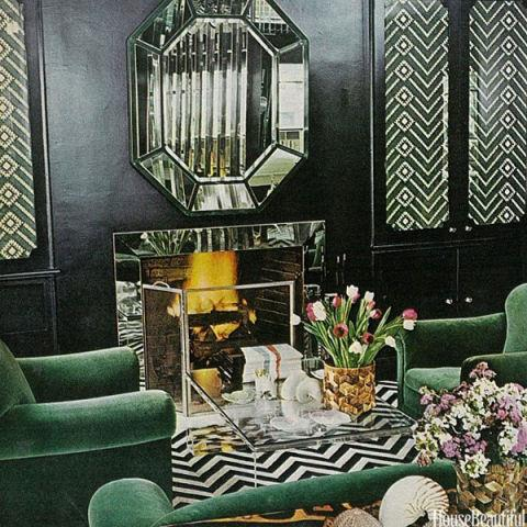 <strong>1975</strong> <br><br> The decade also had its own throwbacks. Specifically, the Art Deco style of the '30s would come to be appreciated again, like in this Manhattan drawing room that features a mirrored fireplace (accented by another great mirror) and plenty of pattern.