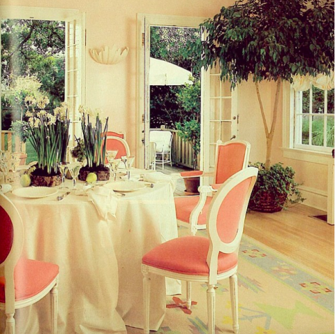 <strong>1983</strong> <br><br> Did we mention that pastels were very, very popular? Here, a similar pink and faded peach scheme brings a feminine feel to a garden-adjacent dining room.