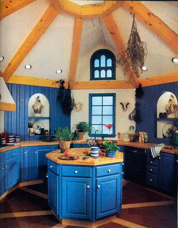 "<strong>1986</strong> <br><br> ""French"" blue and exposed wood still convey the upscale-country look that was so popular during the decade."
