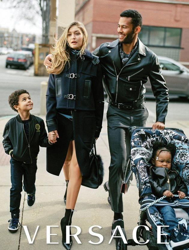 <strong>Versace</strong><br><br> Modelled by Gigi Hadid, shot by Bruce Weber