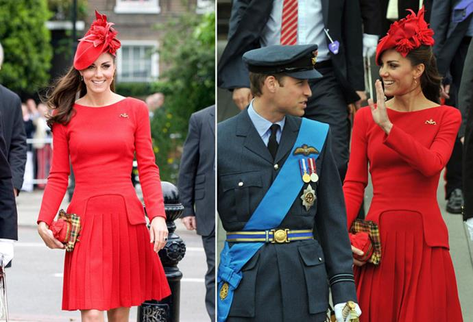 <strong>June 3, 2012</strong> <br><br> The Duchess of Cambridge first debuted this scarlet red dress from Alexander McQueen when she went on a boat ride down the River Thames for a Diamond Jubilee event.