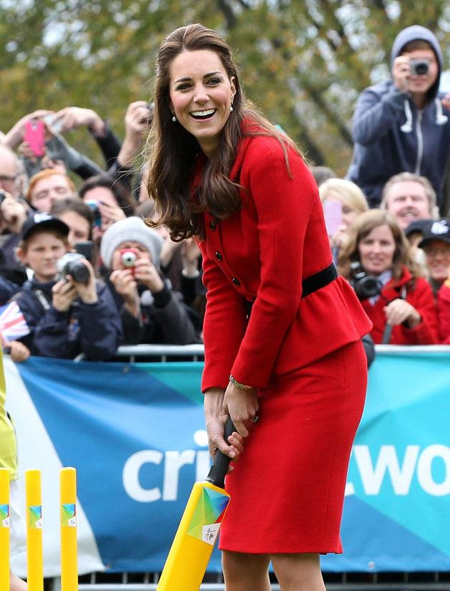 <strong>April 14, 2014</strong> <br><br> Kate wore the Luisa Spagnoli again in 2014 during a visit to Christchurch, New Zealand as part of a three-week tour of Australia and New Zealand. She also played cricket in the outfit. Because princesses should be able to play cricket in anything, duh!