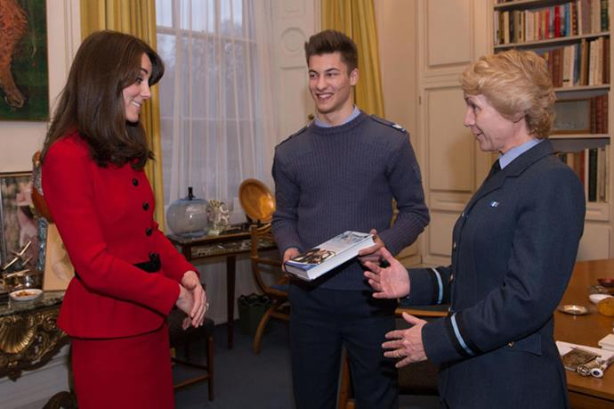 <strong>December 16, 2015</strong> <br><br> Kate wore the separates again when she received a book from Air Commodore Dawn McCafferty in London.