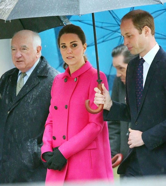 <strong>December 9, 2014</strong> <br><br> Kate was pregnant with Charlotte when she came to New York City for a short trip with Will. She wore a hot pink Mulberry coat when they visited the 9/11 Memorial.