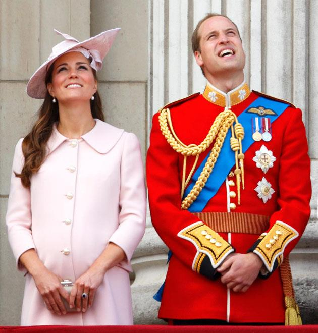 <strong>June 15, 2013</strong> <br><br> Back when she was expecting Prince George, Kate stood on the balcony of Buckingham Palace and watched the annual Trooping of the Colour ceremony.