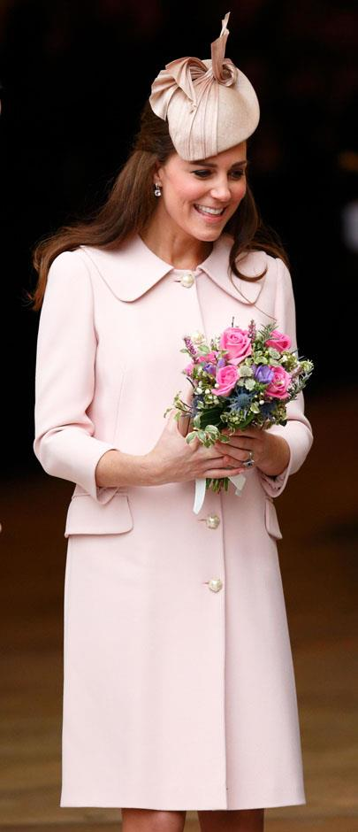 <strong>March 9, 2015</strong> <br><br> The coat then dressed Kate's second bump for the Commonwealth Observance Service at Westminster Abbey.