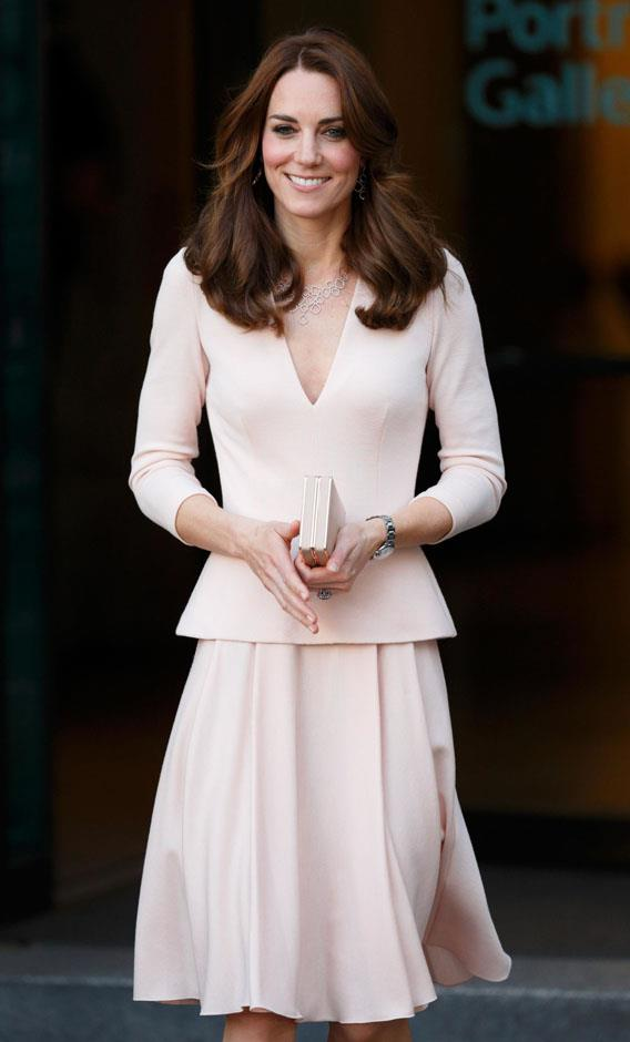 <strong>May 4, 2016</strong> <br><br> To mark the occasion of portraits of herself going up in the National Portrait Gallery, Kate recycled the pale pink McQueen.