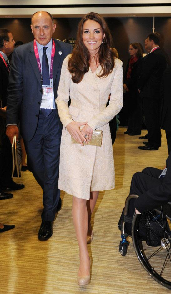 <strong>August 29, 2012</strong> <br><br> For another repeat, Kate wore the coat when she made an appearance at the London Paralympic Games. No hat at all this time! The coat is sad.