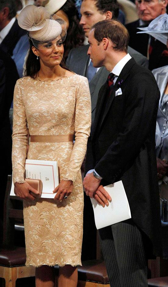<strong>June 5, 2012</strong> <br><br> Kate wore this champagne-hued lace Alexander McQueen sheath when she attended a national service of thanksgiving for the Queen's Diamond Jubilee at St Paul's Cathedral in London.
